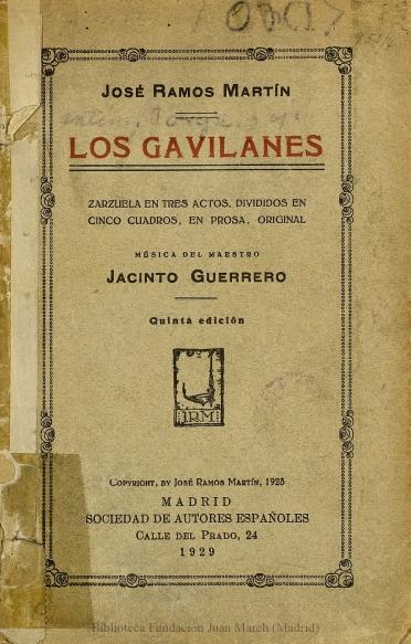 Los gavilanes:zarzuela en tres actos, divididos en cinco cuadros, en prosa
