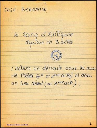 Le Sang d'Antigone:mystere en 3 actes