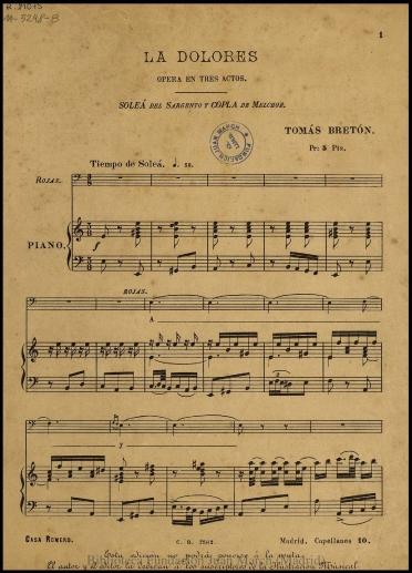 La Dolores:Soleá del sargento y Copla de Melchor : ópera en tres actos