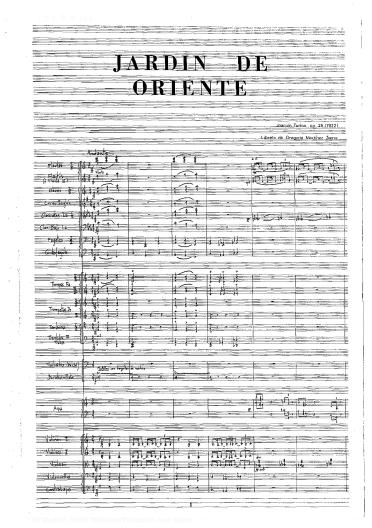 Jardín de Oriente:[ópera en un acto y dos cuadros] : op. 25