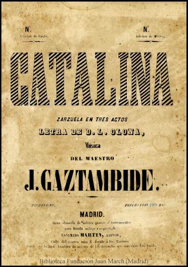 Catalina:zarzuela en tres actos