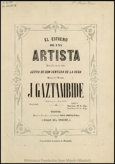 El estreno de una artista:zarzuela en un acto