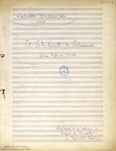 El Estudiante de Salamanca:ópera bufa en 1 acto : [op. 38]