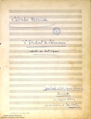 L'Etudiant de Salamanque:reduction pour chant et piano : opéra bouffe en 1 acte : [op. 38]