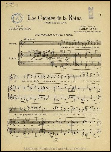 Los cadetes de la Reina:N. 4 B, Balada de tiple y coro : opereta en un acto