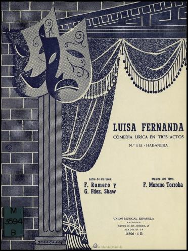 Luisa Fernanda:comedia lírica en tres actos : N. 1B, Habanera : El saboyano