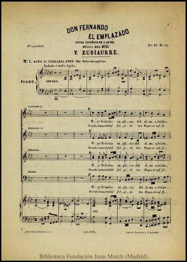 Don Fernando el Emplazado:ópera española en tres actos