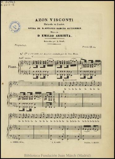 Azon Visconti:zarzuela en 3 actos : N. 1 bis, Canción del bandido cantado por la Sra. Mora