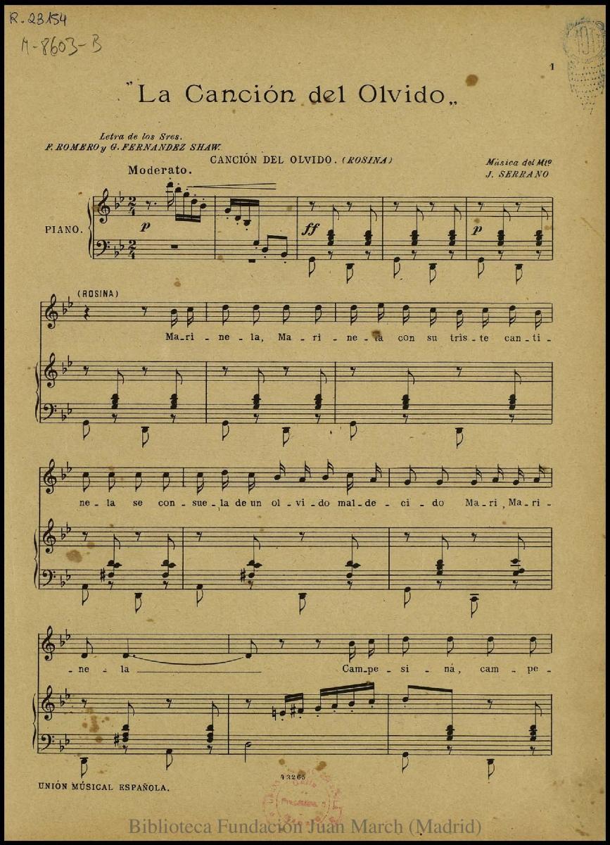 La Canción Del Olvido Marinela Marinela El Teatro Musical Español Fundación Juan March
