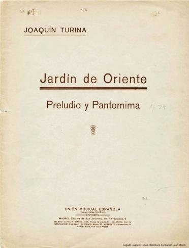 Jardín de Oriente:preludio y pantomima : [op. 25]