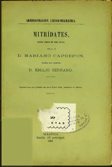 Mitrídates:drama lírico en tres actos