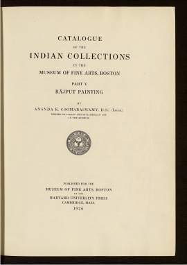 Catalogue of the Indian collections in the Museum of Fine Arts, Boston