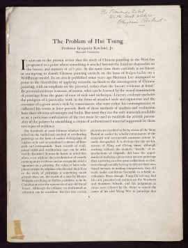 The Problem of Hui Tsung