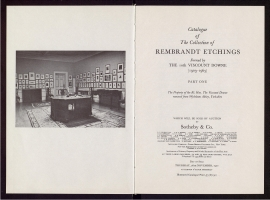 Catalogue of the Collection of Rembrandt etchings formed by the 10th Viscount Downe, 1903-1965