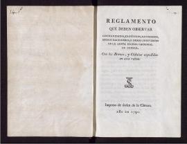 Reglamento que deben observar los dignidades, canónigos, racioneros, medios racioneros, y demás individuos de la Santa Iglesia Catedral de Cuenca