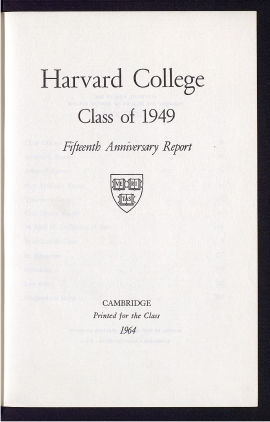 Harvard College, Class of 1949, fifteenth anniversary report