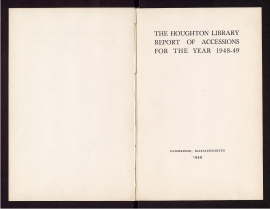 The Houghton Library report of accessions