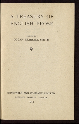 A Treasury of English prose